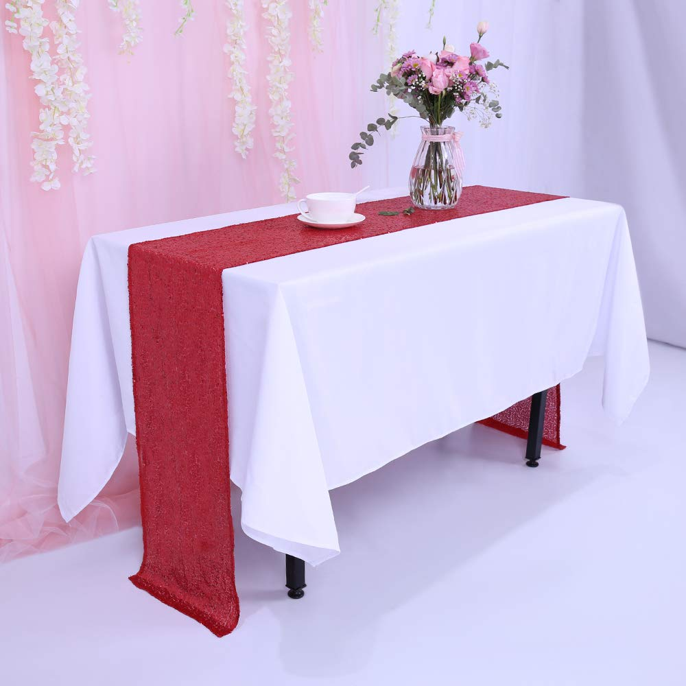 TRLYC 12 x 120 Inch Red Sequin Table Runner,Sequin Tablerunner Red