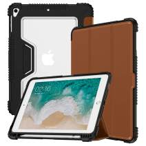 VEGO Compatible for iPad 9.7 Case iPad 6th 5th Generation 2018 2017 Shockproof Rugged Leather Case with Pencil Holder, Microfiber Lining Auto Sleep Wake Folding Stand Protective Cover, Brown