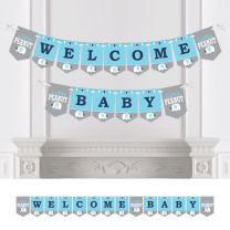 Big Dot of Happiness Blue Elephant - Boy Baby Shower Bunting Banner - Party Decorations - Welcome Baby