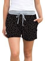 Eytino Women Summer Leopard Print Drawstring Waist Beach Shorts Casual Short Pants(S-XL)