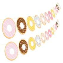 2PCS Donut Party Supplies Party Banners - Donut Food Theme Party/Tea Party Decorations - Doughnut Baby Shower/Birthday Party Garland Wall Decorations Photo Props