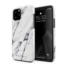 BURGA Phone Case Compatible with iPhone 11 PRO - Satin White Marble Cute Case for Girls Heavy Duty Shockproof Dual Layer Hard Shell + Silicone Protective Cover