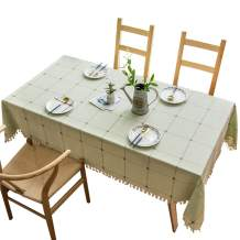 LUCKYHOUSEHOME Cotton Linen Checked Lattice Tablecloth Embroidery Tassel Table Cover for Home Kitchen Dinning Tabletop Rectangle 43 x 43 Inch, Light Green