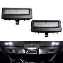 iJDMTOY Black Finish OEM-Fit 3W Full LED Sun Visor Vanity Mirror Lights Compatible With BMW F07 F10 F11 5 Series, F06 F12 F13 6 Series, F01 F02 F03 7 Series