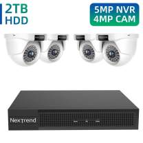 [Expandable] 4MP Home Security Cameras System, NexTrend 8 Channels Video Surveillance Camera System, 4PCS Wired IP66 Outdoor Surveillance Camera with 2TB HDD, 5MP 4MP NVR Supported with Free APP