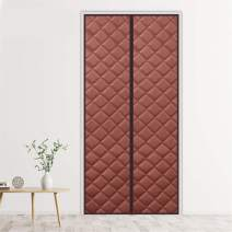 "Liveinu Magnetic Thermal Insulated Door Curtain Storm Wind Fleece Insulation Curtian Magnetic Screen Door with Thermal Weatherproof Waterproof Anti Energy Loss Reduce Noise 27""x78"" Inch Brown"