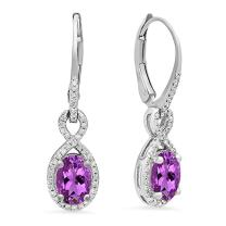 Dazzlingrock Collection 14K 7X5 MM Each Gemstone Ladies Infinity Dangling Earrings, White Gold