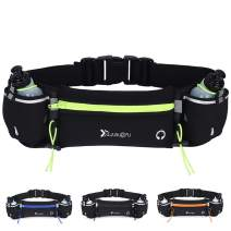 Peicees Running Belt with 2 Water Bottles, Multifunctional Zipper Pocket Adjustable Strap Water Resistant Waist Bag Fanny Pack Waist Pack Phone Holder Pouch for Running Hiking Cycling Climbing Runners