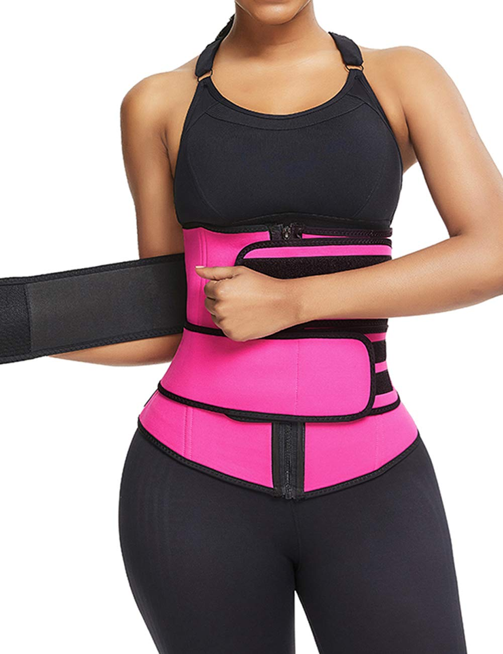 HUHHRRY Women Hot Sweat Neoprene Waist Trainer Corset for Weight Loss with Double Trimmer Belt XS-6XL