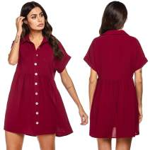 FINEJO Women's Summer Sweet & Cute Short Sleeve Button Down Loose Casual Dress S-XXL