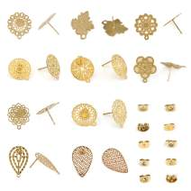 DROLE 20 Sets (10 Pairs) Stainless Steel Hollow Bohemian Stud Earring Posts Blank Base with 18K Gold Plated Secure Earring Backs for DIY Earring Gold#2