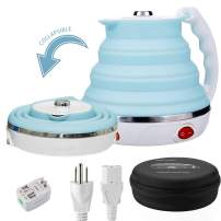 Travel Foldable Electric Kettle, Collapsible Electric Kettle Dual Voltage Food Grade Silicone Small Electric Kettle Boil Dry Protection(555ML,110-220V US Plug) (Blue)