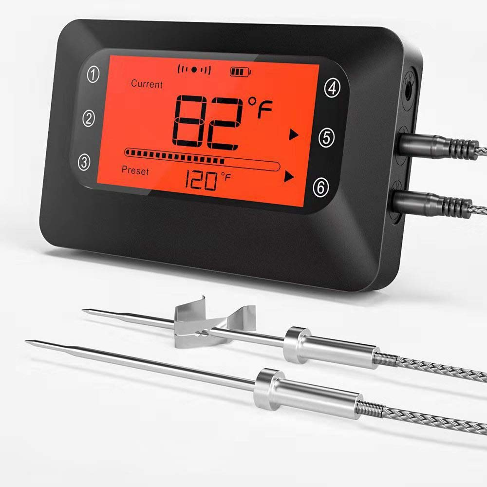 BFOUR Wireless Meat Grill Thermometer, Bluetooth Digital Meat Thermometer for Grilling Smoker BBQ Oven Kitchen Cooking with Stainless Probes, Smart Instant Read, App Remote Control (Black 2 Probes)