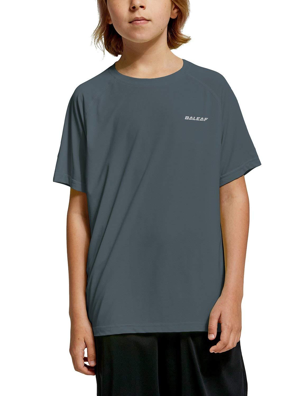 BALEAF Youth Boys' Workout Training Shirts Athletic T-Shirts Short Sleeve Running Football Cool Dry