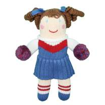 Zubels Baby Girls' Hand-Knit Cheerleader Doll, All-Natural Fibers, Eco-Friendly, 12-Inch, Red & Royal Blue