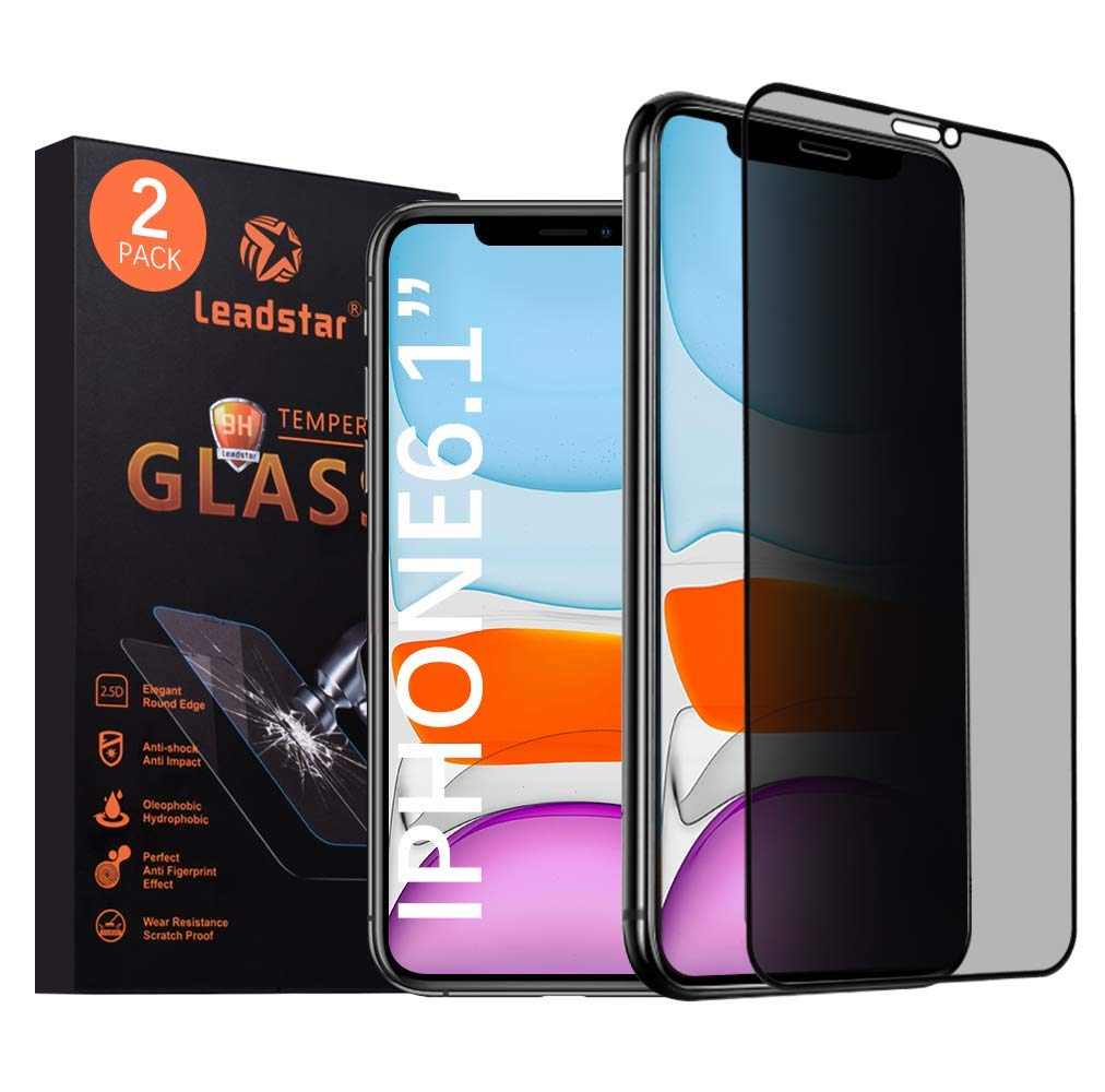 Leadstar Compatible iPhone 11 and iPhone XR Privacy Screen Protector 6.1 inch 3D Touch Anty Spy Tempered Glass Screen Protector for iPhone 11 XR (100% Case Friendly)