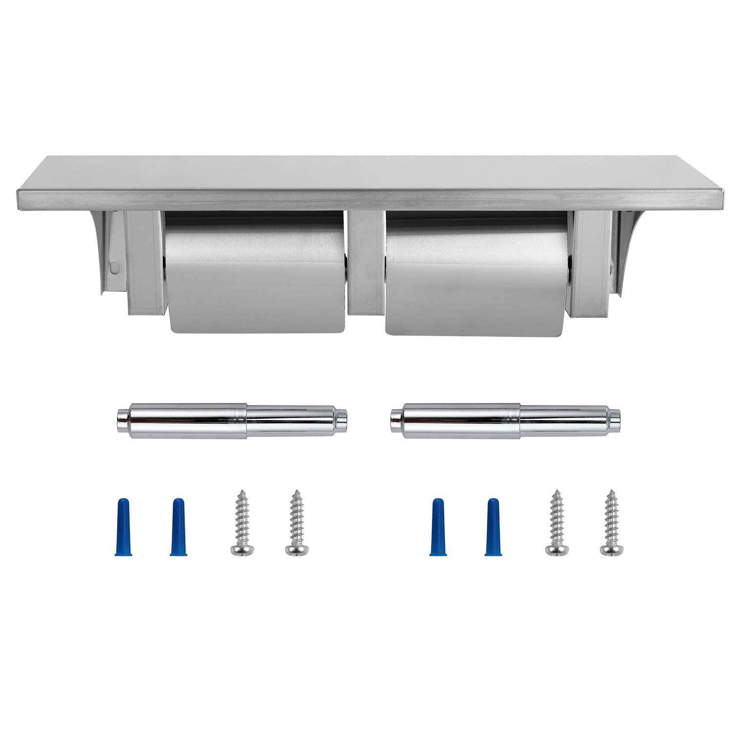Dependable Direct Pack of 8 - Double Roll Toilet Paper Holder and Shelf - Stainless Steel - Satin Finish - Hooded