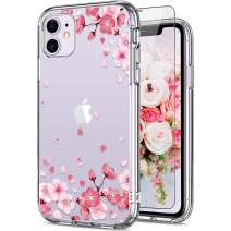 GiiKa iPhone 11 Case, Clear Shockproof Hard PC Case with TPU Bumper Heavy Duty Protective Flower Women Girls Bumper Cover Phone Case for iPhone 11, Pink Floral