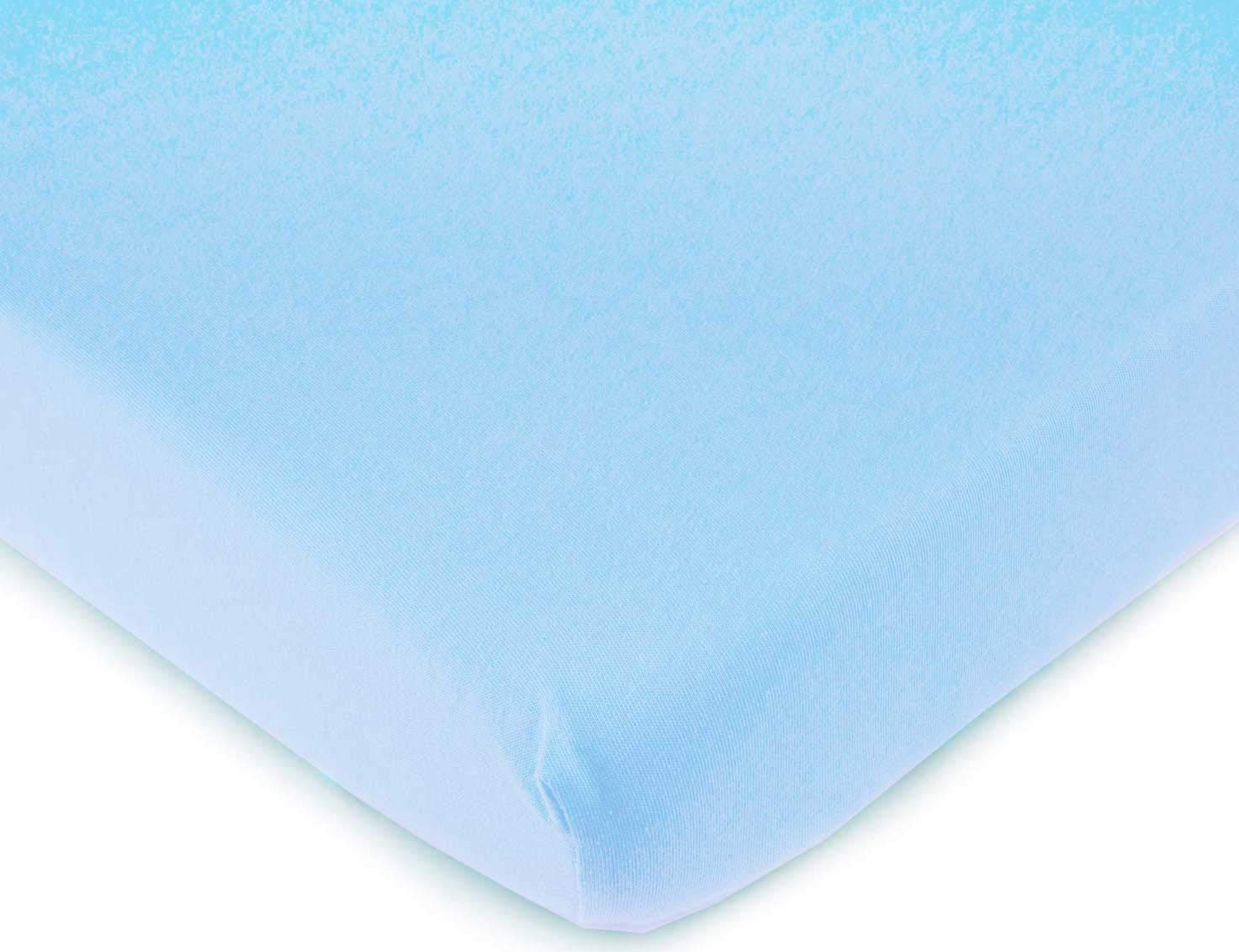 SheetWorld Fitted 100% Cotton Jersey Pack N Play Sheet Fits Graco Square Play Yard 36 x 36, Organic Baby Blue, Made In USA
