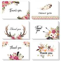 Boho Thank You Cards, 24 Pack Floral Feather Thank You Notes, 6 Chic Design for Valentine's Day, Bridal Shower, Wedding, Baby Shower, Blank Inside with Envelopes and Stickers, 4×6Inches