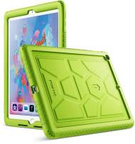 Poetic TurtleSkin New iPad 9.7 Inch 2017/2018 Cover Case with Heavy Duty Protection Silicone and Sound-Amplification Feature for Apple iPad 9.7 2017 / iPad 9.7 2018 Green