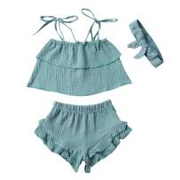 3Pcs Toddler Baby Girl Summer Outfits Halter Sleeveless Tank Top + Ruffled Shorts Pants + Bowknot Headband