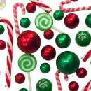 2 Packs Sale Floating Candyland: Green & Red Pearls, Acrylic Lollipops & Candy Canes, and Festive Gems -Jumbo/Assorted Sizes Vase Decorations & Table Scatter + Includes Transparent Water Gels