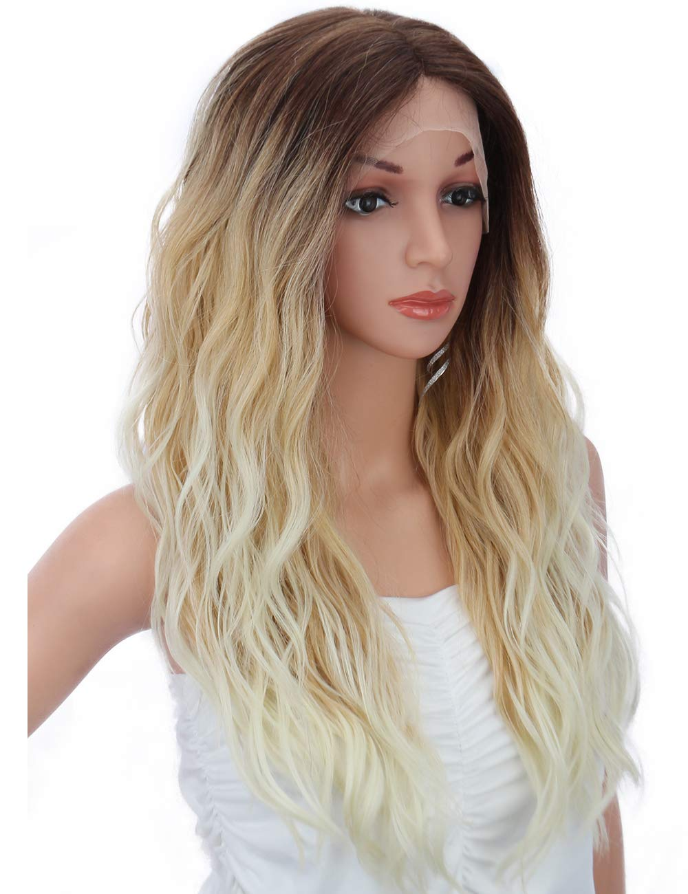 """Kalyss 24"""" Ombre Blonde Lace Front Wigs with Baby Hair for Women Japan-Made Synthetic Heat Resistant Curly Wavy Blonde Wigs with Brown Roots"""