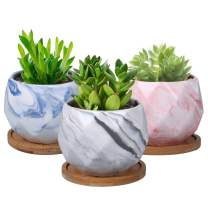 SQOWL 3.2 Inches Marble Ceramic Succulent Planter Pots Indoor Modern Geometric Planter for Succulents,Cactus,Herbs with Drainage Tray Set of 3