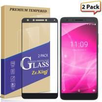 [2-Pack] T-Mobile Revvl 2 Plus Full Coverage Screen Protector Tempered Glass, Zeking [Anti Scratch][Anti-Fingerprint] Bubble Free, Lifetime Replacement Warranty
