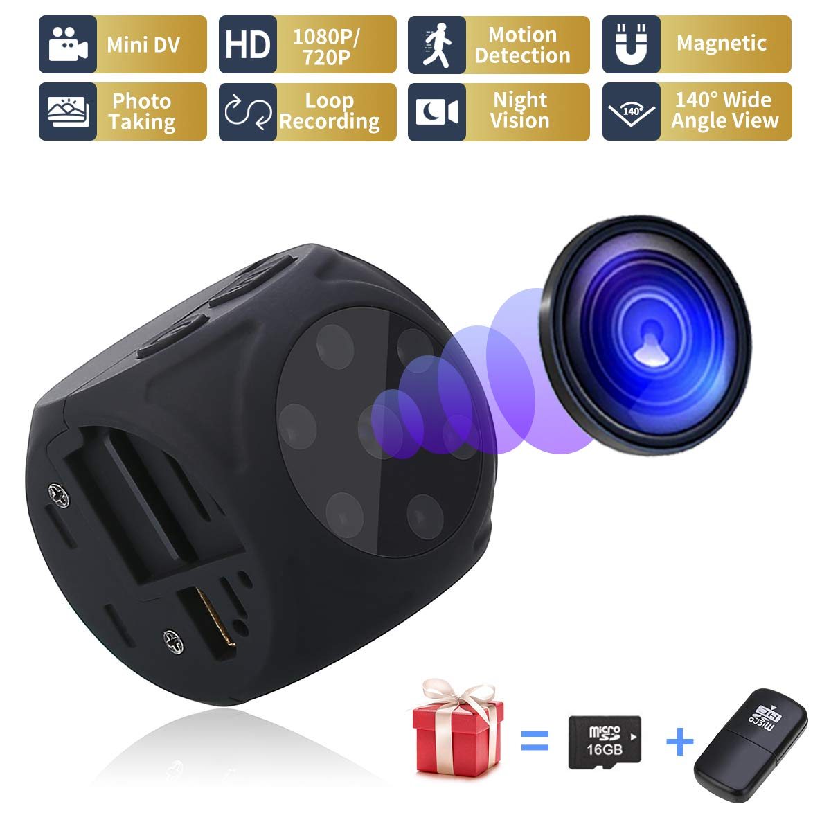 USB Hidden Camera - Spy Camera Wireless Hidden - Mini Camera(No WiFi) - 1080P Portable Small Camera with Night Vision and Motion Detective, Security Camera Surveillance Camera Nanny Cam for Car HOM