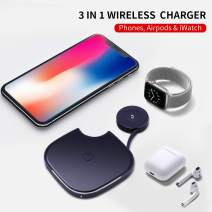 Qi Wireless Charger, LITCHI 2 in 1 Fast Wireless Charger for Phones/iwatch/airpods, Charging Pad Stand Compatible for iPhone 11 XR/XS/X/8Plus/8,10W for Galaxy S10/S10 Plus//S9 All Qi-Enabled Phones