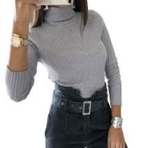 Womens Turtleneck Rib Knit Bodysuit Top Stretchy Long Sleeve Leotard Thong