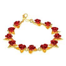 U7 Women Girls 18K Gold/Rose Gold/Platinum Plated Cute Dozen Red Rose Flower Link Locket Style or 100 Languages I Love Charm Bracelet, Open Rings, Bridesmaid Jewelry