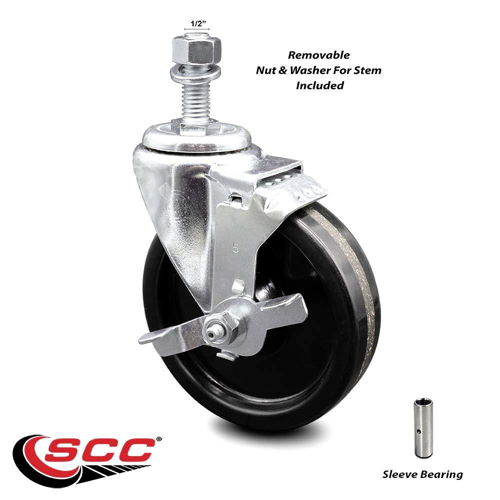 "Phenolic Swivel Threaded Stem Caster w/5"" x 1.25"" Black Wheel and 1/2"" Stem & Top Locking Brake - 300 lbs Capacity/Caster - Service Caster Brand"
