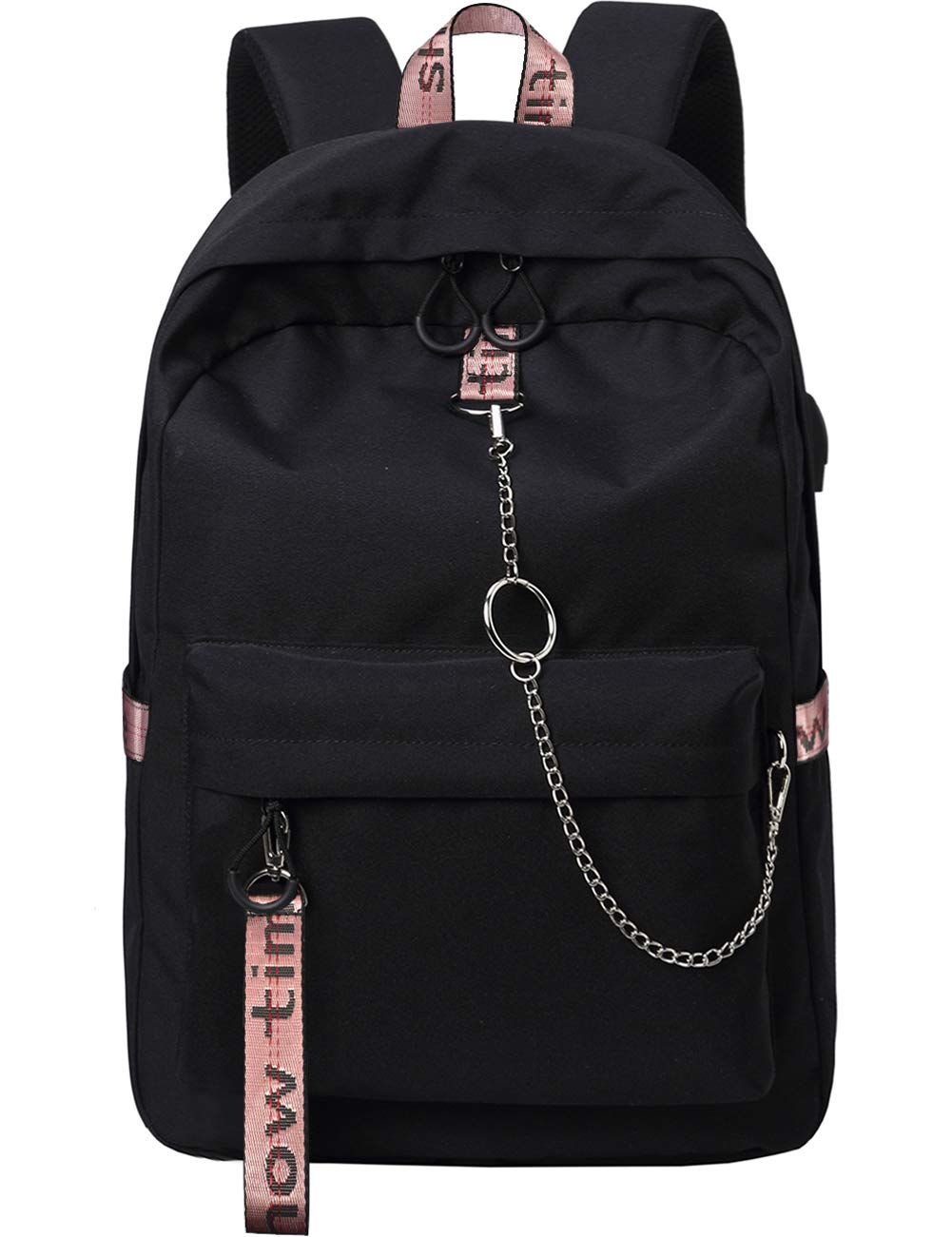 Mygreen 15.6 inch Water Resistant Travel Laptop Backpack for Women Mens with USB Charging Port Carry on Luggage Bag Lightweight College students Notebook Computer Backpacks - Black&Pink