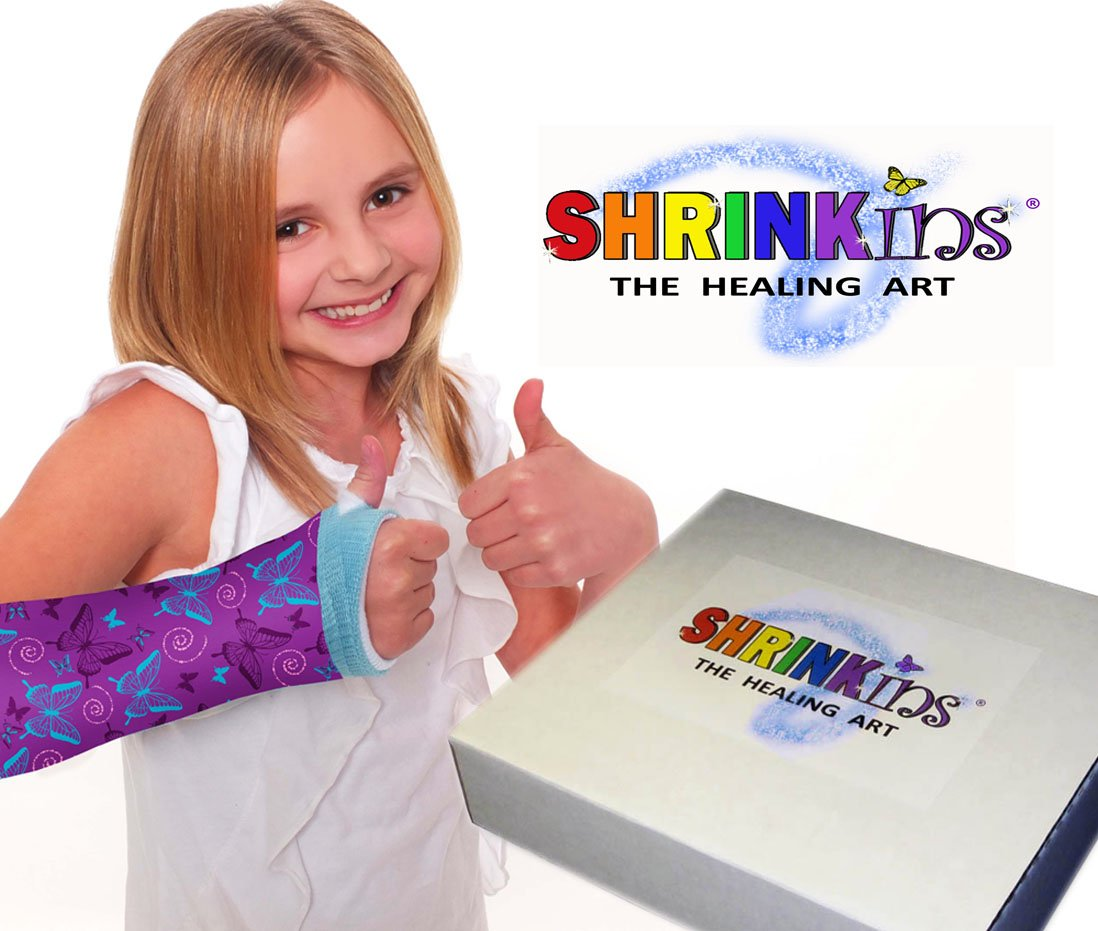 Cast Protector Shrinkins The Healing Art Washable Removable Cast Decorating Cover Party Kit~ Fun, Fashionable Creative Shrink Wrap Decorations for Arm & Leg Casts ~ Uses No Adhesive – Teen & Child