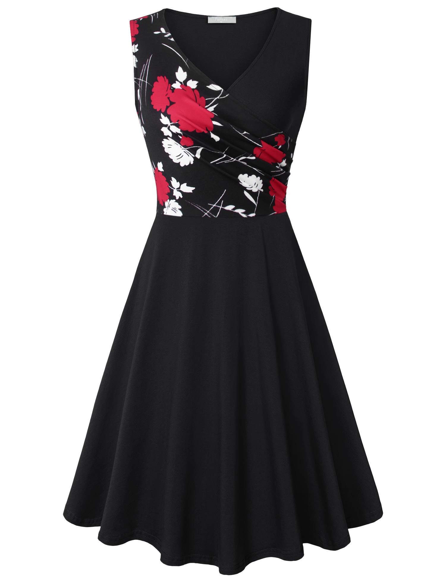 Furnex Casual Dresses for Women Women's a-line Swing Dresses High Waist V Neck Simple Styles Casual Wedding Guest Dress with Pockets(Small,Black Red)