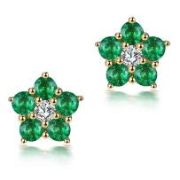 Lanmi 14K Rose Yellow White Gold Natural Emerald Hoop Earrings Studs with Diamonds for Women