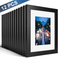 iDecorlife Premium 8x10 Black Picture Frames 12PCs - 5x7 Picture Frame with Mat or 8x10 Picture Frame Without Mat - Real Wood Photo Frame for Table Top Display wtih Wall Mounting Ready