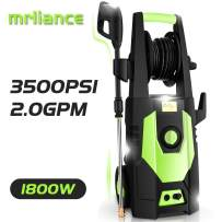 mrliance 3500PSI Electric Pressure Washer 2.0GPM Power Washer 1800W High Pressure Washer Cleaner Machine with Spray Gun, Hose Reel, Brush, and 4 Adjustable Nozzle (Green)