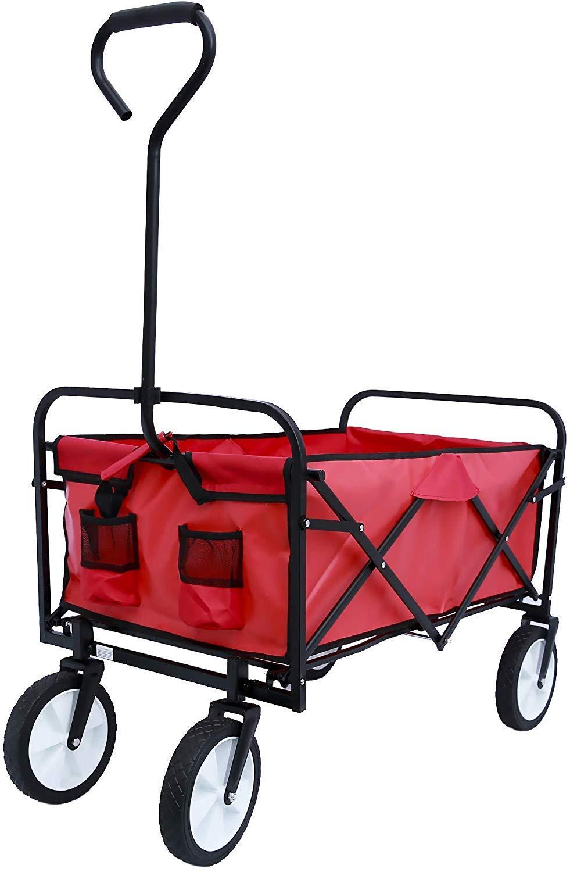 Hooseng Garden Beach Outdoor Picnic Camp Four-Wheel Folding Portable Trolley Shopping Cart Wagons, Red