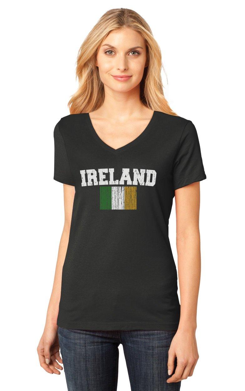 Ireland Tricolor Flag Irish Pride St. Patricks Day Women's Fitted V-Neck T-Shirt