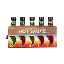 Thoughtfully Gifts, Hot Sauces To Go, Home Edition, Set of 5 Unique Flavors, 1.6 Fluid Ounces Each