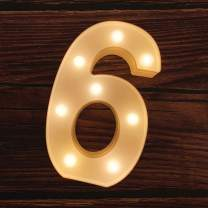 MUMUXI LED Marquee Number Lights Sign Light Up Marquee Number Letters Sign for Wedding Birthday Party Battery Powered Christmas Lamp Night Light Home Bar Decoration (6)