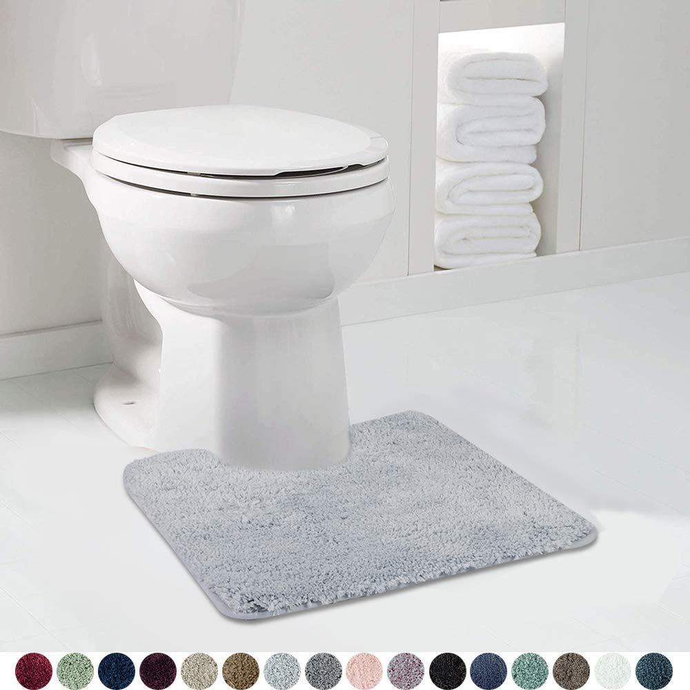 Walensee Bathroom Contour Rug (20x24, Growing Blue) Non Slip Bath Mat for Bathroom Water Absorbent Soft Microfiber Shaggy Bathroom Mat Machine Washable Bath Rug for Bathroom U Shape Toilet Rug