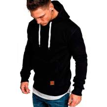 Mens Fashion Athletic Casual Hoodies - Long Sleeves Loose Fit Solid Color Sweatshirt with Kangaroo Pocket