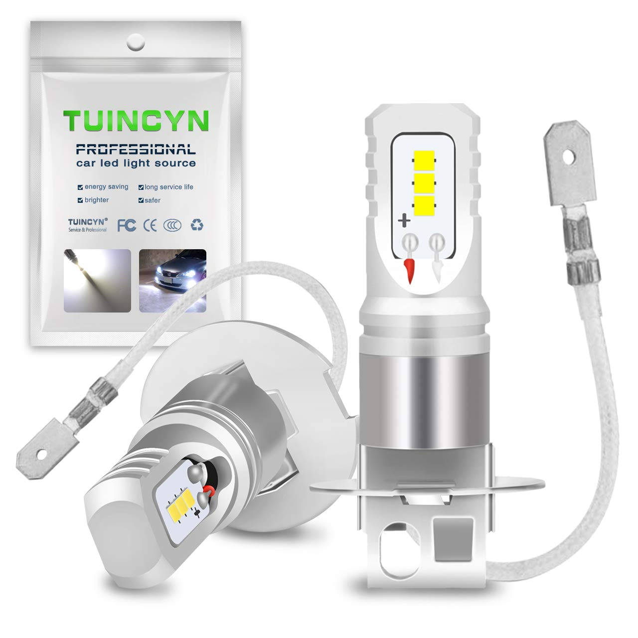 TUINCYN 1600Lm Extremely Bright H3 LED Fog Light Bulbs Replacement 6500K White High Power 80W CSP Chips DRL Daylight LED Bulb DC 12V-24V (2-Pack)