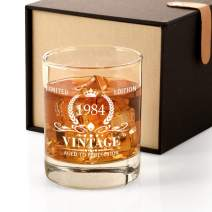 1984 37th Birthday Gifts for Men, Vintage Whiskey Glass 37 Birthday Gifts for Dad, Son, Husband, Brother, Funny 37th Birthday Gift Present Ideas for Him, 37 Year Old BdayParty Decoration