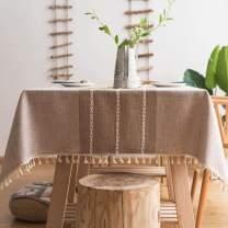 """Pahajim Stitching Tassel Tablecloth Heavy Weight Cotton Linen Table Cloths Fabric Dust-Proof Table Cover for Kitchen Dinning Farmhouse Tabletop Decoration (1Light Brown, Rectangle/Oblong, 55""""x87"""")"""